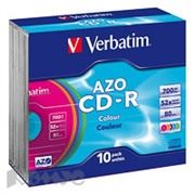 Носители информации Verbatim CD-R 700Mb 52x Slim/10 43308 Color