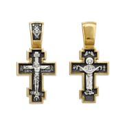 """Крест большой, """"Распятие Христово с предстоящими. Архангел Михаил"""", серебро 925°, с позолотой"""