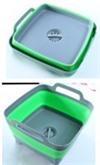 Корзина-раковина пластиковая складная с ручками, зеленая