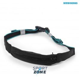 Сумка на пояс Zip belt, черная с голубым