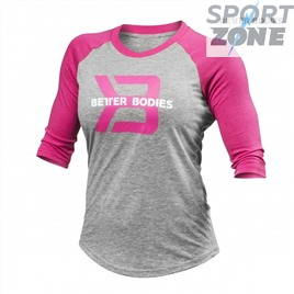 Футболка с длинным рукавом Better Bodies Womens Baseball Tee, Grey Melange/Pink