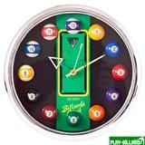 """Часы настенные """"12 шаров"""" D27 см (хром), пластик, интернет-магазин товаров для бильярда Play-billiard.ru"""