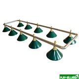 Лампа на десять плафонов «Evergreen» (серебристо-золотистая штанга, зеленый плафон D35см), интернет-магазин товаров для бильярда Play-billiard.ru