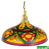 Лампа на один плафон «Colorful» (золотистая чашка, цветной плафон D44см), интернет-магазин товаров для бильярда Play-billiard.ru