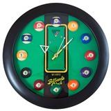"""Часы настенные """"12 шаров"""" D32 см (черные), пластик, интернет-магазин товаров для бильярда Play-billiard.ru"""