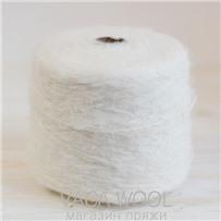 Пряжа Lilu  Белый из сури альпака 130м/50г, Lama Lima