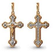 Крест арт 11942 золотой литьё с белым золотом