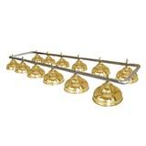 Лампа на двенадцать плафонов «Ravena» (серебристая штанга, золотой плафон D38см), интернет-магазин товаров для бильярда Play-billiard.ru