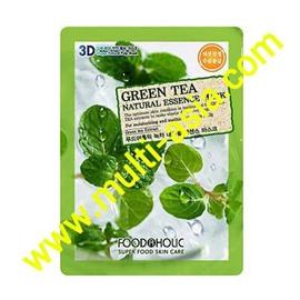 Тканевая маска с зеленым чаем, Food A Holic 3D Shape Natural Essence Mask