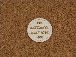 Шильдик картонный Handmade wiht love круглый