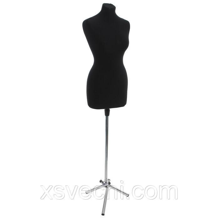 Манекен портновский женский на стойке, хромированная подставка, чёрный