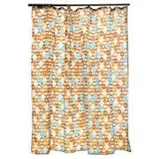 """VETTA Шторка для ванной, ткань полиэстер с утяжелит, 180x180см, """"Голубые и бежевые кольца"""""""