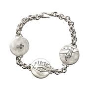 780 Браслет с христианскими символами, серебро 925°