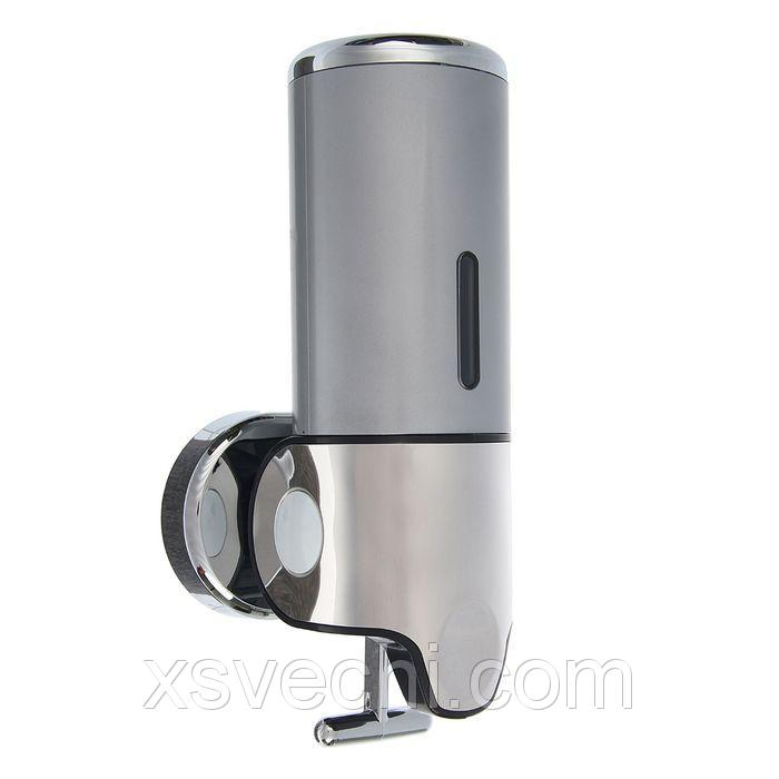 Диспенсер жидкого мыла механический 400 мл, металл, цвет серый