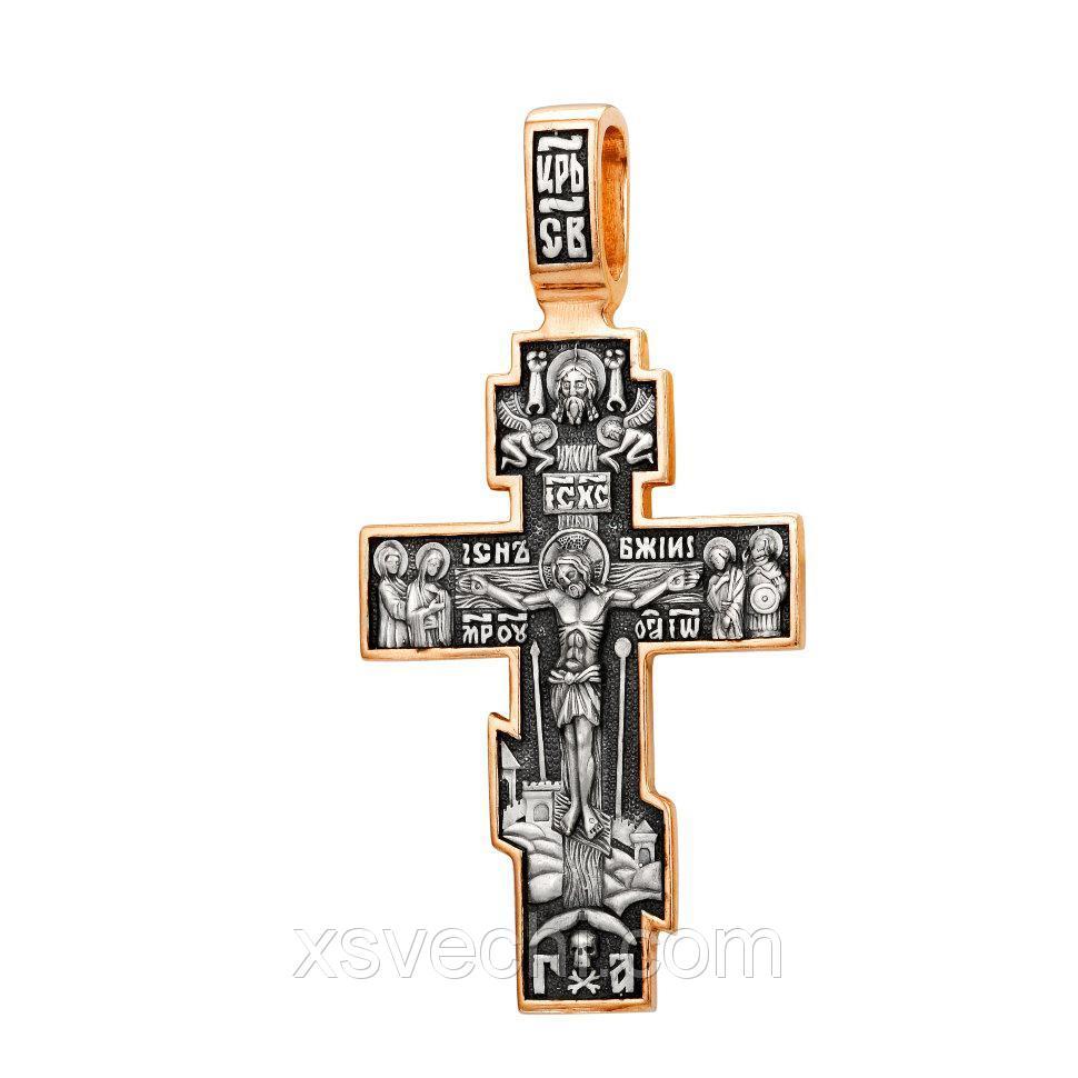 Позолоченный крест из серебра с чернением 01018
