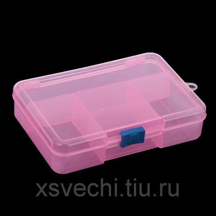 """Шкатулка пластик для мелочей """"Прямоугольная"""" 5 отделений МИКС 3,5х10,3х14,5 см"""