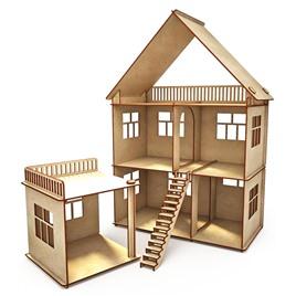 """ХэппиДом Конструктор-кукольный домик ХэппиДом """"Коттедж с пристройкой"""" из дерева"""