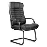 Кресло для приемных и переговорных Атлант, кожа, черное