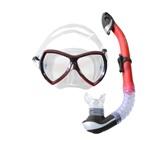 Набор маска,трубка WAVE MS-1380S57 силикон (красный)