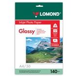 Фотобумага для струйной печати Lomond А4, 140 г/м2, 50 листов, односторонняя глянцевая 0102054