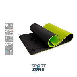 Коврик для йоги 10 мм двухслойный TPE черно-зеленый