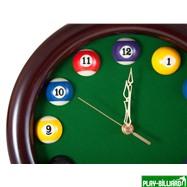 Weekend Часы настенные «12 шаров» D27 см (черные), деревянные, интернет-магазин товаров для бильярда Play-billiard.ru. Фото 2