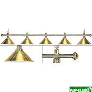 Лампа на пять плафонов «Elegance» (золотистая штанга, золотистый плафон D35см), интернет-магазин товаров для бильярда Play-billiard.ru