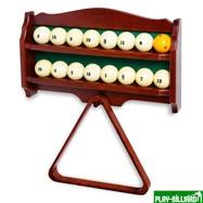 Полка для шаров и треугольника (дуб, коричневая), интернет-магазин товаров для бильярда Play-billiard.ru. Фото 3