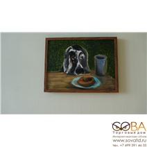 Портрет Собаки в кафе купить по лучшей цене в интернет магазине стильных обоев Сова ТД. Доставка по Москве, МО и всей России
