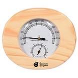Термометр с гигрометром для бани и сауны Банная станция овальный в деревянном корпусе 18022