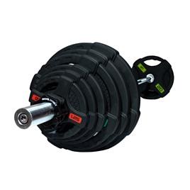 Штанга олимпийская 128 кг (диски с двумя хватами, хромированный гриф)